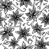 Anise Star Seed, clous de girofle et cosse de vanille, tranches de poire, morceaux de modèle sans fin sans couture découpé d'Appl illustration de vecteur