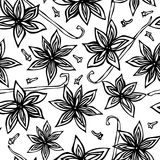 Anise Star Seed, clous de girofle et modèle sans fin sans couture de cosse de vanille Fond saisonnier de nourriture Épice et cock illustration de vecteur