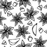 Anise Star Seed, Scheiben der Birne, Stücke gewürfelten nahtlosen endlosen Musters Apples Saisonhintergrund Gewürz und Aroma-Glüh Stockfotografie