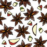 Anise Star Seed, Slices of Pear, Pieces of Diced Apple Seamless Endless Pattern. Seasonal Background. Spice and Flavor Mulled Wine royalty free illustration