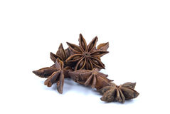 Anise stars. On white background Royalty Free Stock Images