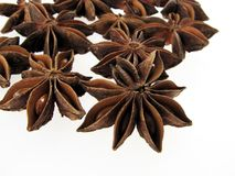 Anise stars. On the white background royalty free stock photography