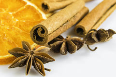Anise stars and cassia cinnamon with dried orange rings Royalty Free Stock Images