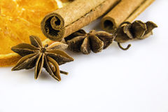Anise stars and cassia cinnamon with dried orange rings Stock Images