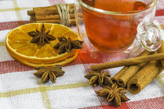 Anise stars, cassia cinnamon sticks, dried orange rings and frui Royalty Free Stock Images