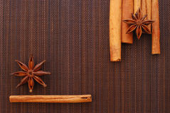 Anise stars and cinnamon Royalty Free Stock Images