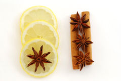 Anise stars, cinnamon and lemon Royalty Free Stock Images