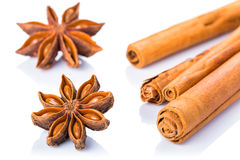 Anise stars and cinnamon sticks. Over white background Royalty Free Stock Photo