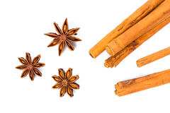 Anise stars and cinnamon sticks. Over white background Royalty Free Stock Photos