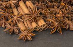 Anise stars and cinnamon sticks Royalty Free Stock Image