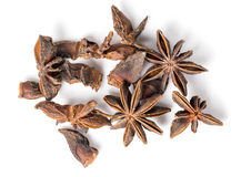 Anise stars. Close-ups of anise stars isolated royalty free stock photo