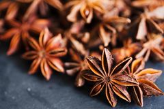 Anise stars closeup in wooden bowl Stock Photos