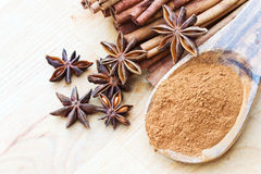 Anise stars with ground and stick cinnamon Stock Image