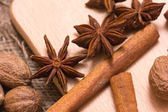 Anise stars, nutmeg and cinnamon Stock Image