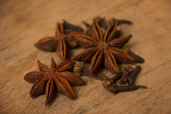 Anise stars on wooden Stock Photo