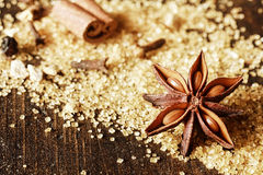 Anise in Sugar Granules on Wooden Table Stock Photos