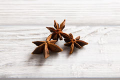 Anise tree. On the light wooden background Royalty Free Stock Image