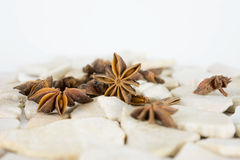 Anise. On white stones and white background Stock Photo