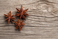 Anise. On a wooden background stock photography