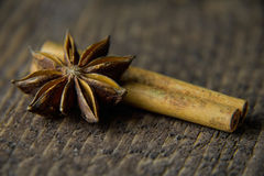 Anise on a wooden background in warm colors Royalty Free Stock Images