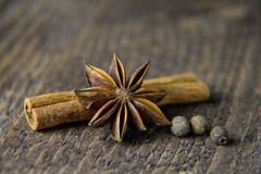 Anise on a wooden background in warm colors Stock Photo