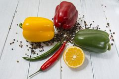 Aniseeds and peppers stock photos