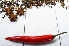 Aniseeds and peppers royalty free stock image