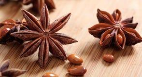 Anises d'étoile sur une surface en bois Photographie stock libre de droits