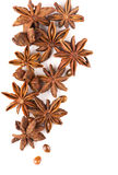Anisetree anise. Whole Star Anise isolated on white background with shadow Royalty Free Stock Photos