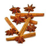 Anisetree and cinnamon stitsks closeup. Image of star anise and cinnamon sticks on white background Royalty Free Stock Image