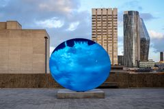 Anish Kapoor's Sky Mirror, Blue 2016 Hayward Gallery royalty free stock images