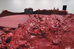 Anish Kapoor的陈列我的红色家园 库存图片