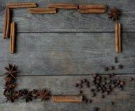 Anispeppar och kanelbruna pinnar på träbakgrund Arkivfoton