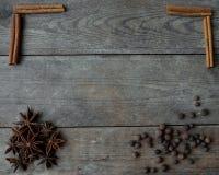 Anispeppar och kanelbruna pinnar på träbakgrund Fotografering för Bildbyråer