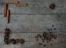 Anispeppar och kanelbruna pinnar på träbakgrund Arkivbild