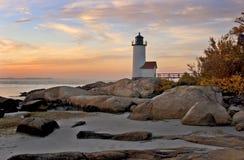 Anisquam lighthouse. Located near Rockport, Massachusetts stock photo