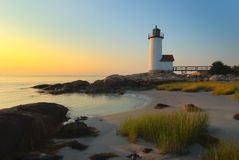 Anisquam lighthouse 2. Lighthouse located in north east Massachussetts photographed at sunset Stock Photography