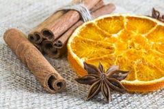 Anisstjärna och kanelbruna pinnar för cassia med den torkade orange cirkeln Arkivfoton