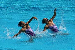 Anita Alvarez and Mariya Koroleva of team USA compete during synchronized swimming duets free routine preliminary of the Rio 2016 Stock Photography