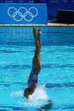 Anita Alvarez and Mariya Koroleva of team USA compete during synchronized swimming duets free routine preliminary of the Rio 2016 Royalty Free Stock Images