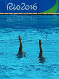 Anita Alvarez and Mariya Koroleva of team USA compete during synchronized swimming duets free routine preliminary of the Rio 2016 Royalty Free Stock Image