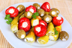 Anitpasto. Mixed antipasto on a plate Royalty Free Stock Images