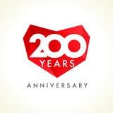 Aniversário 200 anos de corações velhos Imagens de Stock
