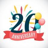 Aniversário 20 anos de molde com ilustração do vetor da fita Imagens de Stock