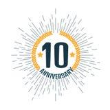 Aniversário 10 anos Ilustração do vetor Fotos de Stock