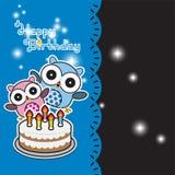 Aniversário bonito da coruja Imagem de Stock Royalty Free