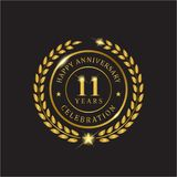 Aniversário da grinalda do ouro onze anos de celebração Fotografia de Stock