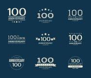 100 - aniversário do ano que comemora o logotype 100th grupo do logotipo do aniversário ilustração stock