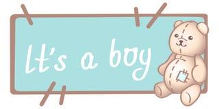 Aniversário do bebê, convite ou cartão, cartaz, molde Ilustrações bonitos do vetor com um brinquedo recém-nascido do bebê É um ca ilustração royalty free