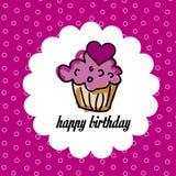 Aniversário do bolo do copo ilustração stock